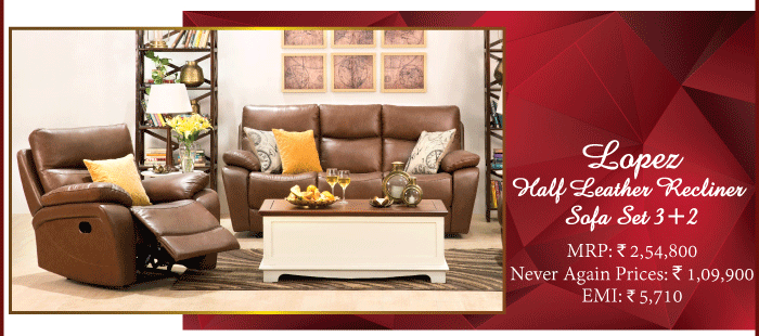 Lopez Half Leather Recliner Sofa Set 3+2