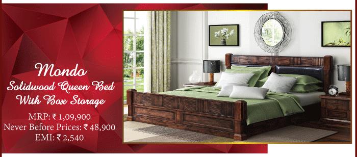 MondoSolidwood Queen Bed With Box Storage